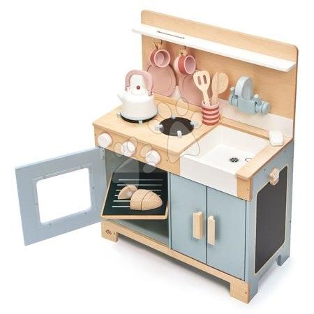 Drevené kuchynky - Drevená kuchynka s chlebom Home Kitchen Tender Leaf Toys s čajníkom, šálkami a riadom_1