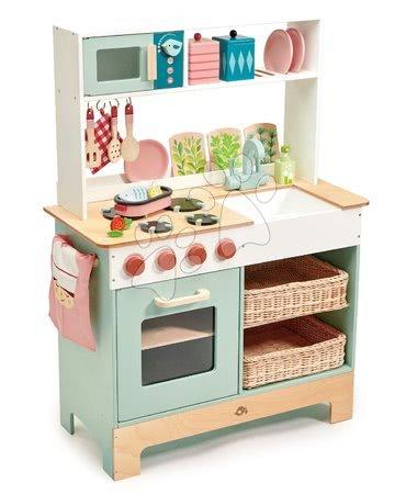 Dřevěná kuchyňka s bylinkami Kitchen Range Tender Leaf Toys s magnetickou rybou, mikrovlnka a sporák se zvuky