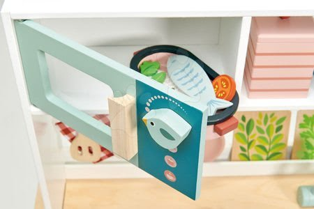 Drevené kuchynky - Drevená kuchynka s bylinkami Kitchen Range Tender Leaf Toys s magnetickou rybou, mikrovlnka a sporák so zvukmi_1