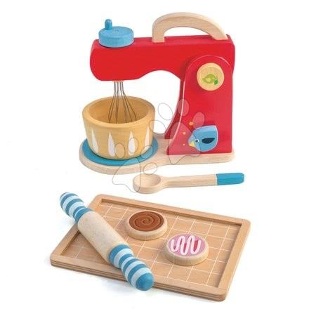 Drevené kuchynky - Drevený mixér so zvukmi Baker's Mixing Tender Leaf Toys 7-dielna sada s kuchynským riadom a koláčmi