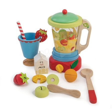Drevené kuchynky - Drevený mixér s ovocím Smoothie Maker Tender Leaf Toys 11-dielna súprava s pohárom