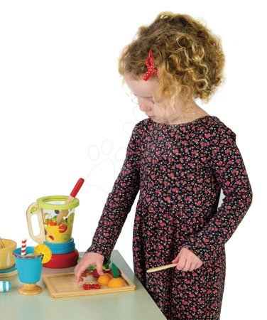 Drevené kuchynky - Drevený mixér s ovocím Smoothie Maker Tender Leaf Toys 11-dielna súprava s pohárom_1