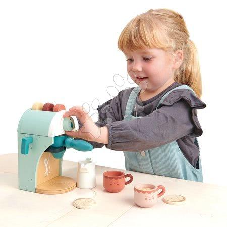 Drevené kuchynky - Drevený kávovar Cappuccino Babyccino Maker Tender Leaf Toys s dvoma šálkami a keksíky s mliekom_1