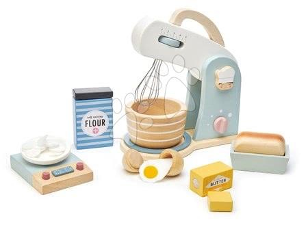 Drevené kuchynky - Drevený kuchynský robot Home baking set Tender Leaf Toys s váhou, riadom a potravinami