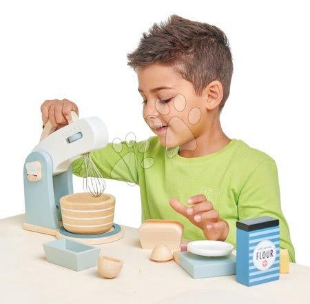 Drevené kuchynky - Drevený kuchynský robot Home baking set Tender Leaf Toys s váhou, riadom a potravinami_1
