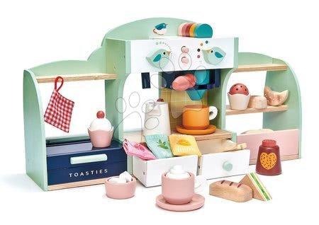 Drevené kuchynky - Drevená kaviareň Vtáčie hniezdo Bird's Nest Café Tender Leaf Toys s vypracovanými doplnkami a nálepkami
