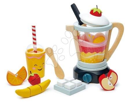 Drevené kuchynky - Drevený mixér Fruity Blender Tender Leaf Toys s pohárom, ovocím a kocky ľadu