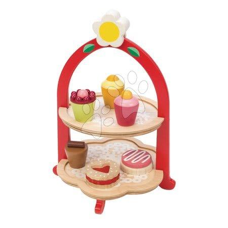 Dřevěný stojan se sladkostmi Afternoon Tea Stand Tender Leaf Toys 7dílná sada