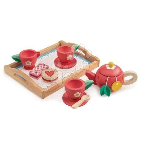 Drevené kuchynky - Drevená tácka s čajovou súpravou Tea Tray Tender Leaf Toys 12-dielna súprava s čajníkom a koláčmi
