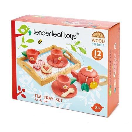 Drevené kuchynky - Drevená tácka s čajovou súpravou Tea Tray Tender Leaf Toys 12-dielna súprava s čajníkom a koláčmi_1