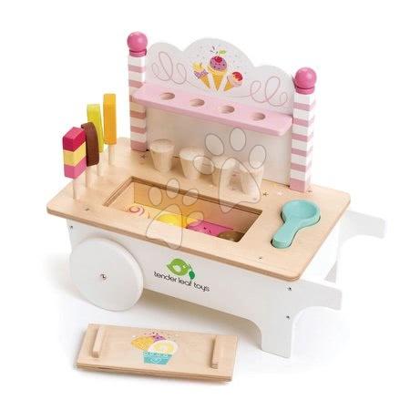 Drevené kuchynky - Drevený zmrzlinársky vozík Ice Cream Cart Tender Leaf Toys na kolieskach 15 dielov s nanukmi a zmrzlinou
