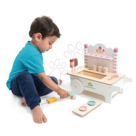 Drevené kuchynky - Drevený zmrzlinársky vozík Ice Cream Cart Tender Leaf Toys na kolieskach 15 dielov s nanukmi a zmrzlinou_1
