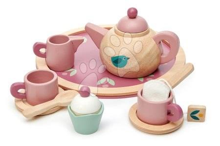 Drevené kuchynky - Drevený čajník Birdie Tea set Tender Leaf Toys na tácke so šálkami s čajovým vrecúškom
