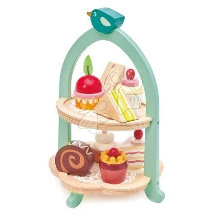 Drevené kuchynky - Drevená cukráreň Birdie Afternoon Tea stand Tender Leaf Toys so zákuskami a sendvičmi