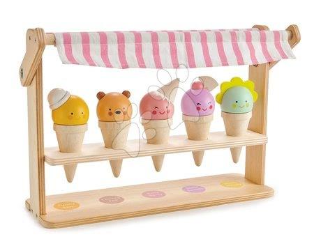 Drevené kuchynky - Drevená zmrzlináreň s úsmevom Scoops and Smiles Tender Leaf Toys 5 druhov kornútkov so zvieratkami