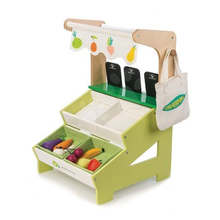 Dřevěný obchod Farmer's Market Stall Tender Leaf Toys 15dílná souprava s ovocem a zeleninou