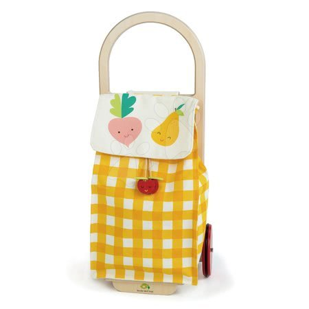 Nákupní vozík z textilu Shopping Trolley Yellow Tender Leaf Toys s dřevěnou konstrukcí