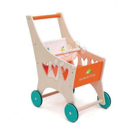 Dřevěný nákupní vozík Shopping Cart Tender Leaf Toys s textilní přihrádkou