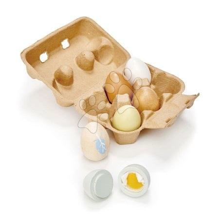 Detské kuchynky - Drevené vajíčka Wooden Eggs Tender Leaf Toys 6 kusov v krabičke