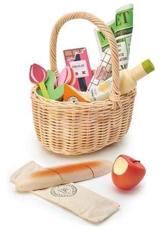 Drevené kuchynky - Drevený košík s tulipánmi Wicker Shopping Basket Tender Leaf Toys s čokoládou limonádou syrom a inými potravinami