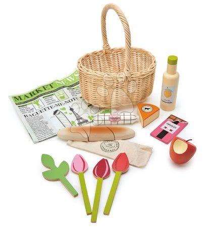 Drevené kuchynky - Drevený košík s tulipánmi Wicker Shopping Basket Tender Leaf Toys s čokoládou limonádou syrom a inými potravinami_1