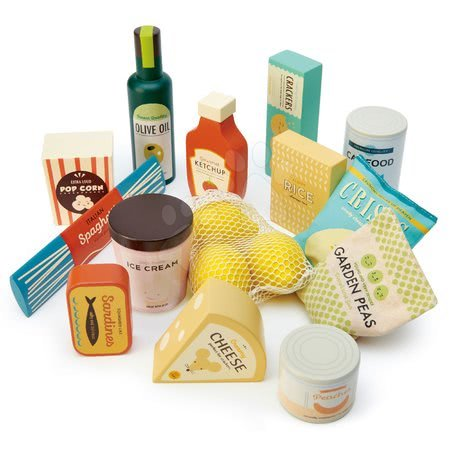 Drevené kuchynky - Drevené potraviny Supermarket Grocery Set Tender Leaf Toys potraviny citróny a sardinky