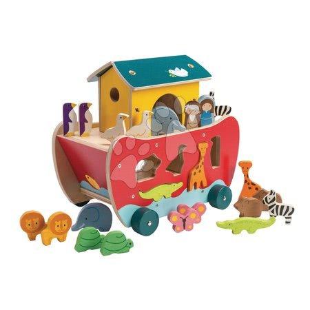 Drevená Noemova archa Noah's Shape Sorter Ark Tender Leaf Toys 23-dielna s postavičkami, rozoberateľná od 18 mes