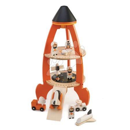 Dřevěné stavebnice Tender Leaf  - Dřevěná raketa s kosmonauty Cosmic rocket Tender Leaf Toys 11dílná souprava
