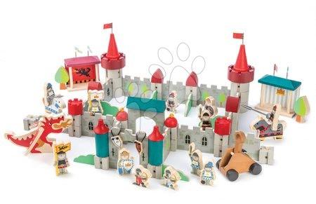 Dřevěné stavebnice - Dřevěný královský hrad Royal Castle Tender Leaf Toys 100dílná sada s rytíři, koňmi a drakem