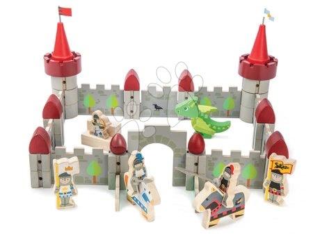 Dřevěné stavebnice Tender Leaf  - Dřevěný hrad Dragon Castle Tender Leaf Toys 59dílná sada se drakem a vojáky