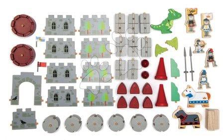 Dřevěné stavebnice Tender Leaf  - Dřevěný hrad Dragon Castle Tender Leaf Toys 59dílná sada se drakem a vojáky_1