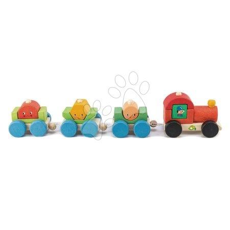 Ťahacie hračky - Drevený skladací vláčik Happy Train Tender Leaf Toys 14-dielna súprava s 3 vozňami a geometrickými tvarmi od 18 mes