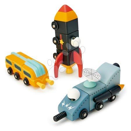 Dřevěné stavebnice Tender Leaf  - Dřevěná kosmická auta Space Race Tender Leaf Toys třídílná skládací kombinovatelná