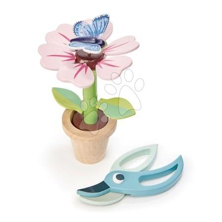 Drevená kvetinka v kvetináči Blossom Flowerpot Tender Leaf Toys rozoberateľná s motýľom a nožničkami