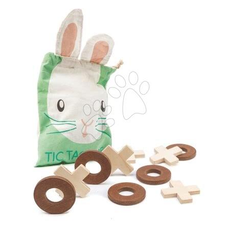 Drevená logická hra Tic Tac Toe Tender Leaf Toys 5 krúžkov a 5 krížov v plátenom vrecúšku