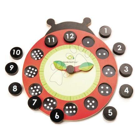 Fa mágneses óra katicabogár Ladybug Teaching Clock Tender Leaf Toys felfüggeszthető, 12 pontozott kockával