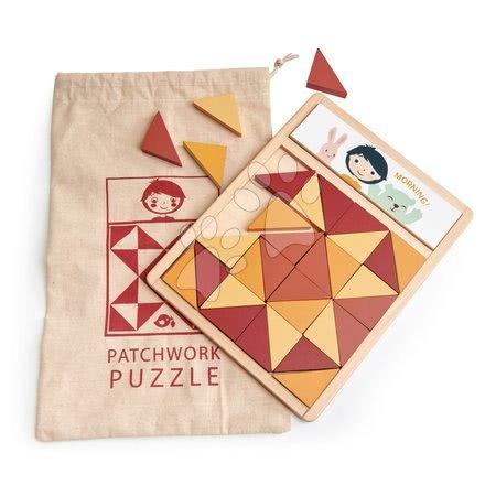 Puzzle mozaic din lemn Patchwork Quilt Puzzle Tender Leaf Toys triunghiuri maro 32 bucăți 4 nuanțe de culoare