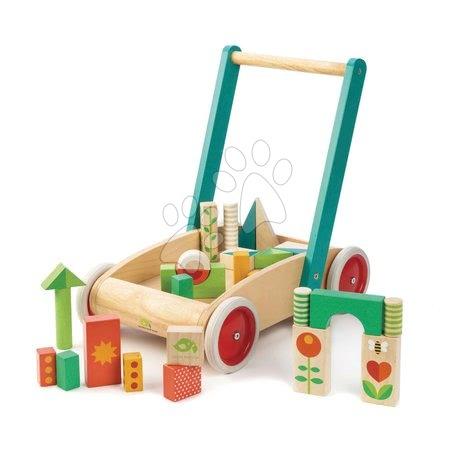Dřevěné stavebnice - Dřevěné chodítko s kostkami Baby Block Walker Tender Leaf Toys vozík s malovanými obrázky 29 kostek od 18 měsíců