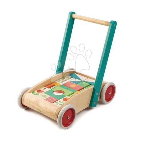 Dřevěné stavebnice - Dřevěné chodítko s kostkami Baby Block Walker Tender Leaf Toys vozík s malovanými obrázky 29 kostek od 18 měsíců_1