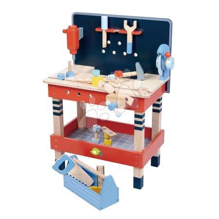 Dřevěná pracovní dílna TenderLeaf Tool Bench Tender Leaf Toys s nářadím, 18 doplňků
