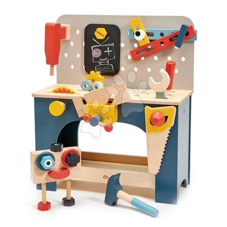 Dřevěná dílna s robotem Table top Tool Bench Tender Leaf Toys s nářadím a stavebnicí