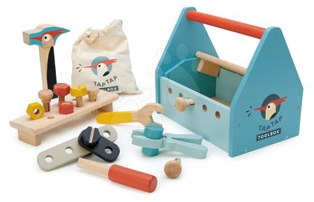Drevený kufrík Tap Tap Tool Box Tender Leaf Toys s pracovným náradím a zatĺkačkou