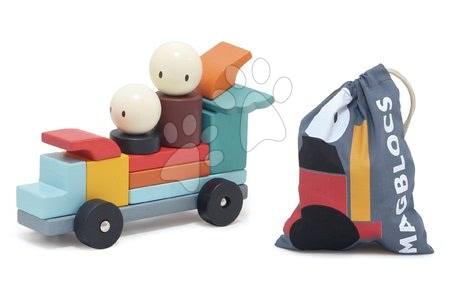 Dřevěné stavebnice Tender Leaf  - Dřevěná magnetická stavebnice Racing Magblocs Tender Leaf Toys 14 auto-kostek v sáčku_1