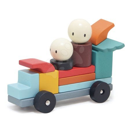 Dřevěné stavebnice Tender Leaf  - Dřevěná magnetická stavebnice Racing Magblocs Tender Leaf Toys 14 auto-kostek v sáčku