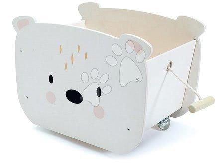 Drevený vozík na ťahanie Pull Along Bear Cart Tender Leaf Toys na 4 kolieskach v tvare medveďa