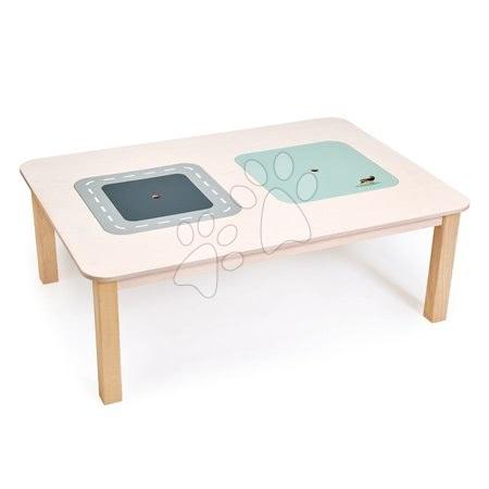 Masă dreptunghiulară din lemn pentru joacă Play Table Tender Leaf Toys cu spațiu de depozitare și pasăre