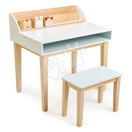 Măsuță din lemn cu scăunel Desk and Chair Tender Leaf Toys cu spațiu de depozitare și 3 compartimente cu animăluțe 75*53*76/45*24*35 cm TL8819