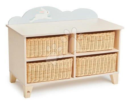 Dulăpior din lemn cu iepuraș Bunny Storage Unit Tender Leaf Toys cu 4 coșuri de depozitare tricotate 70*35*51 cm TL8820