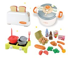 SMOBY 24545-4 toaster Mini Tefal+tlakový hrniec Tefal+potraviny v sieťke+varič s hrncami
