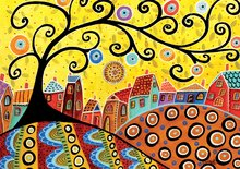 Puzzle 1000 dielne - Puzzle Blooming Village, Karla Gerard Educa 1000 dielov od 12 rokov_0